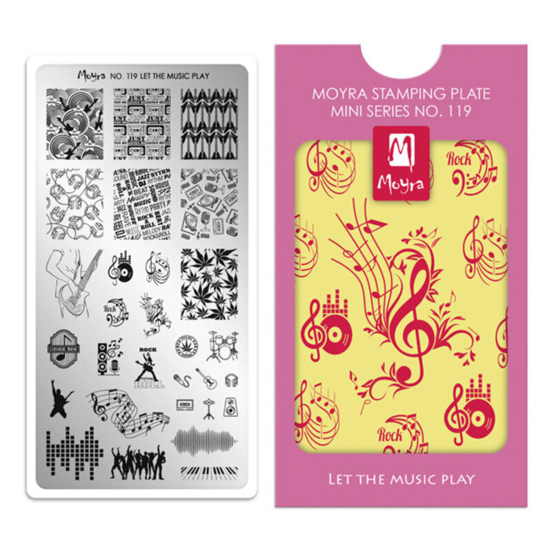 Image of   Moyra mini stamping plade 119 Let the music play