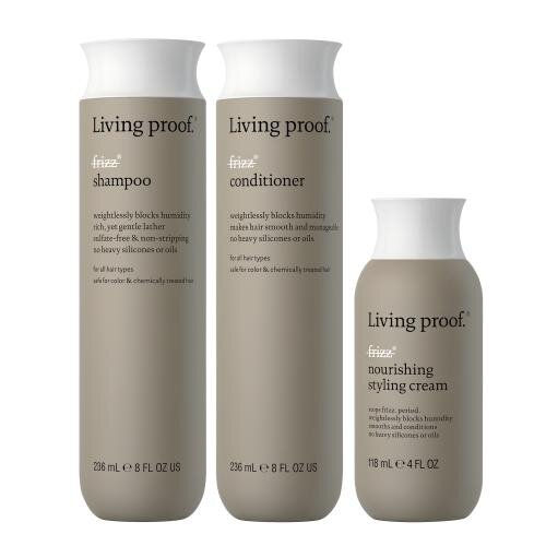 Living Proof No frizz shampoo, conditioner & nourishing styling cream